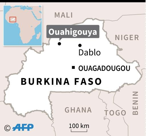 Map of Burkina Faso locating attacks in Ouahigouya and Dablo