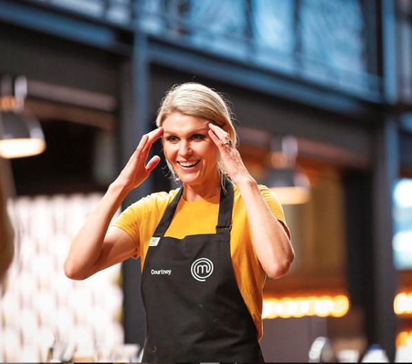 Courtney Roulston in yellow and black on MasterChef