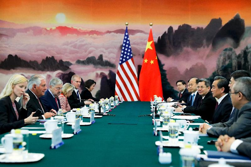 US Secretary of State Rex Tillerson (2nd L) attends a meeting with Chinese Foreign Minister Wang Yi (3rd R) at the Great Hall of the People in Beijing in September (AFP Photo/ANDY WONG)