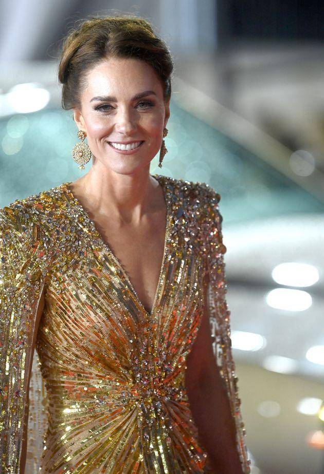 A closer look at the detailing on the Duchess of Cambridge's gown. (Photo: Dave J Hogan via Getty Images)