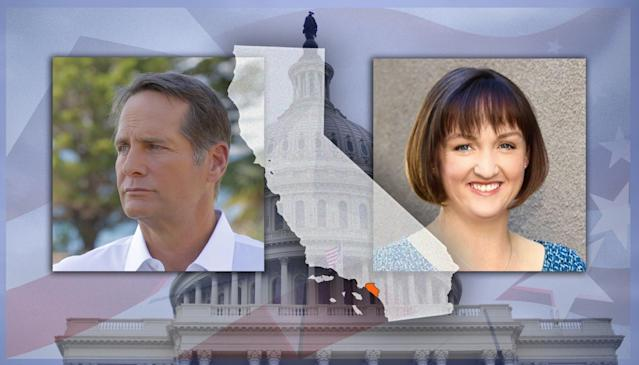 Democratic congressional candidates Harley Rouda and Katie Porter. (Photo illustration: Yahoo News; photos: harleyforcongress.com, katieporter.com, AP)