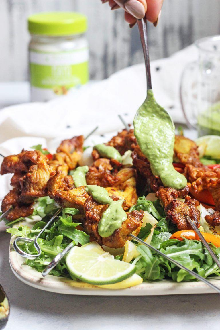 """<p>You cannot forget the creamy avocado sauce with this recipe, it tastes amazing with the Indian-inspired spices of the chicken tikka skewers.</p><p><em><a href=""""https://cleanfoodiecravings.com/chicken-tikka-skewers-with-creamy-avocado-sauce/"""" rel=""""nofollow noopener"""" target=""""_blank"""" data-ylk=""""slk:Get the recipe from Clean Foodie Cravings >>"""" class=""""link rapid-noclick-resp"""">Get the recipe from Clean Foodie Cravings >></a></em></p>"""