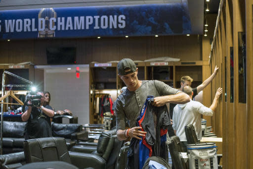 Atlanta Braves pitcher Mike Soroka cleans out his locker in the Braves clubhouse at SunTrust Park in Atlanta, Thursday, Oct. 10, 2019. The Braves lost to the St. Louis Cardinals in the National League Division Series. (Alyssa Pointer/Atlanta Journal-Constitution via AP)