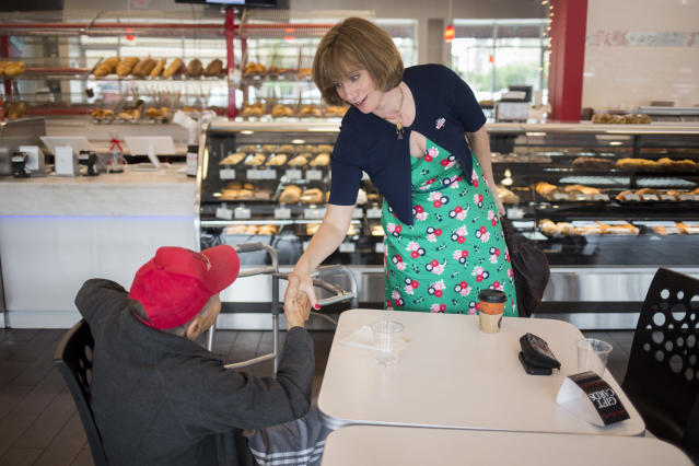 Democrat Laura Moser campaigns at a bakery in Houston on May 22. (Michael Stravato/The Washington Post via Getty Images)