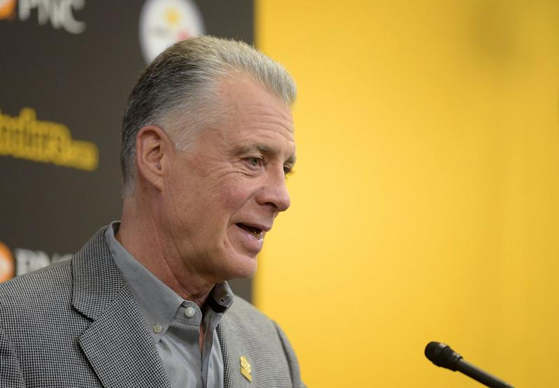 Pittsburgh Steelers' owner Art Rooney II introduces first-round NFL football draft pick Terrell Edmunds during a news conference at the team's headquarters in Pittsburgh, Friday, April 27, 2018. (AP Photo/Fred Vuich)