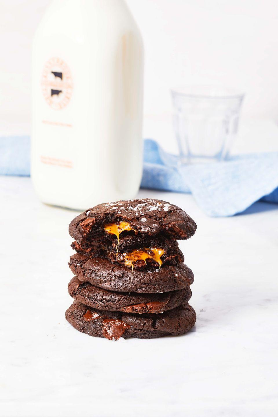 """<p>A soft caramel wrapped into double-chocolate dough makes warm, gooey and absolutely irresistible cookies.</p><p><em><a href=""""https://www.goodhousekeeping.com/food-recipes/dessert/a37135686/chocolate-caramel-cookies-recipe/"""" rel=""""nofollow noopener"""" target=""""_blank"""" data-ylk=""""slk:Get the recipe for Chocolate Caramel Cookies »"""" class=""""link rapid-noclick-resp"""">Get the recipe for Chocolate Caramel Cookies »</a></em></p>"""