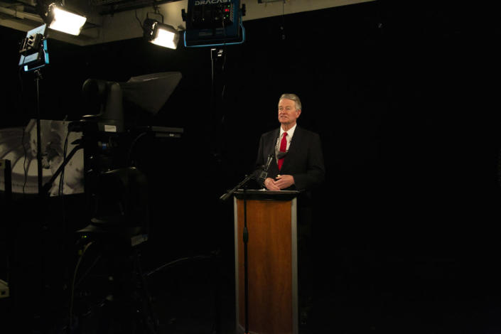 Gov. Brad Little speaks in a basement studio during a State Board of Education news conference Thursday. Sami Edge/Idaho EdNews