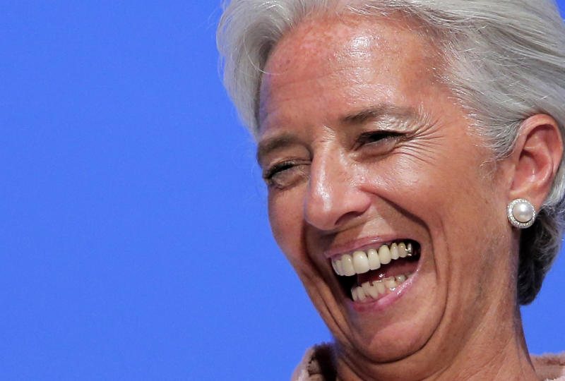IMF Managing Director Christine Lagarde laughs during her speech at a forum for the annual meetings of the IMF and World Bank Group at a Tokyo hotel Friday, July 6, 2012. Lagarde has praise for Japan's move to raise its sales tax to curb the swollen national debt. (AP Photo/Itsuo Inouye)