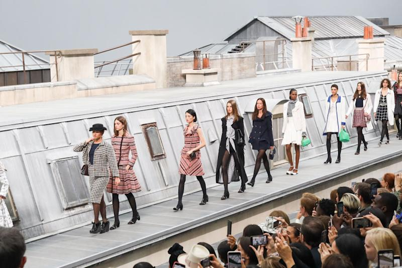 YouTuber Marie S'Infiltre crashing the Chanel catwalk in Paris