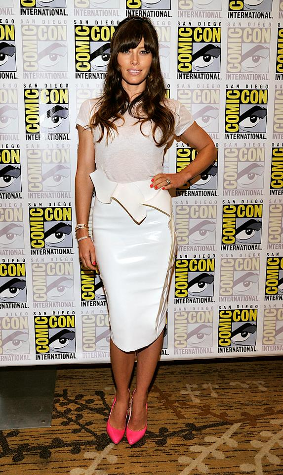 "Speaking of Ms. Biel (or should we say Mrs. Justin Timberlake-to-be?), the actress looked better than ever upon arriving at last weekend's Sony Pictures Comic-Con panel in this PVC Thierry Mugler pencil skirt and delicate Joe's Jeans tee. Neon-pink Brian Atwood pumps and Anita Ko baubles completed her fetching outfit.<br>(7/13/2012)<br><br><a target=""_blank"" href=""http://bit.ly/lifeontheMlist"">Follow 2 Hot 2 Handle creator, Matt Whitfield, on Twitter!</a>"