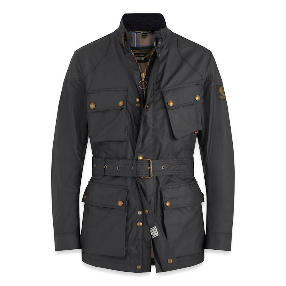 """<p><strong>Belstaff</strong></p><p>huckberry.com</p><p><strong>$595.00</strong></p><p><a href=""""https://go.redirectingat.com?id=74968X1596630&url=https%3A%2F%2Fhuckberry.com%2Fstore%2Fbelstaff%2Fcategory%2Fp%2F64217-trialmaster-jacket&sref=https%3A%2F%2Fwww.esquire.com%2Fstyle%2Fmens-fashion%2Fg34487003%2Fhuckberry-fall-mens-essentials%2F"""" rel=""""nofollow noopener"""" target=""""_blank"""" data-ylk=""""slk:Buy"""" class=""""link rapid-noclick-resp"""">Buy</a></p><p>An icon of classic British style that'll pair perfectly with everything you already own, no matter where in the world it hails from. </p>"""
