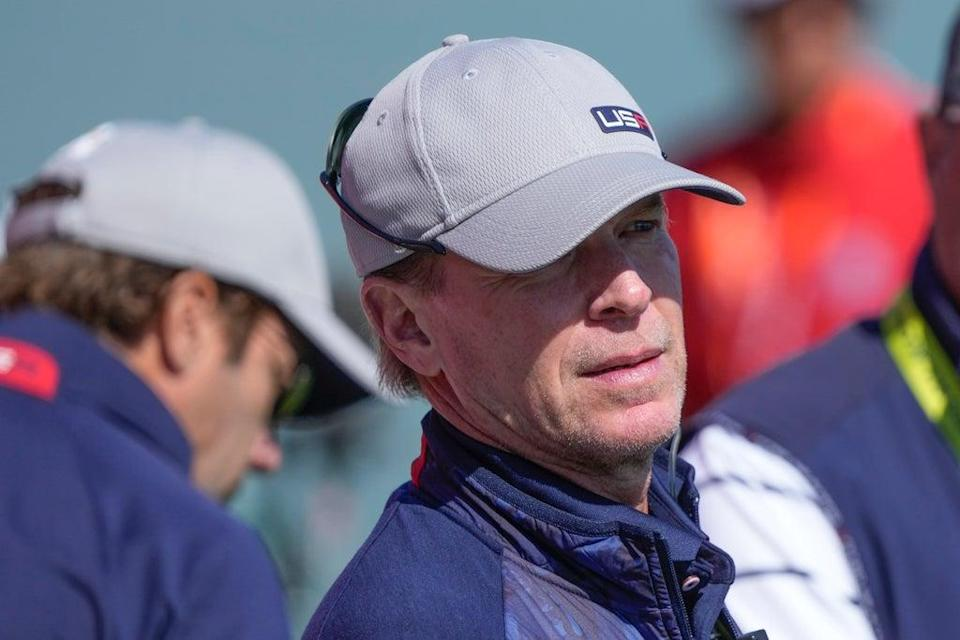 Team USA captain Steve Stricker watches from the third tee during day one of the Ryder Cup (Charlie Neibergall/AP) (AP)