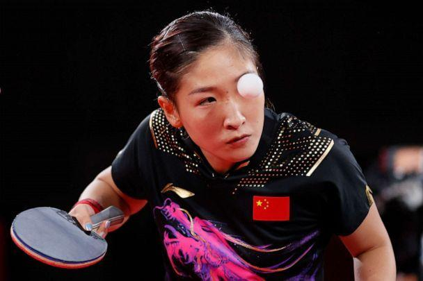 PHOTO: Liu Shiwen of Team China serves the ball during her Mixed Doubles Semifinal match on day two of the Tokyo 2020 Olympic Games at Tokyo Metropolitan Gymnasium on July 25, 2021 in Tokyo, Japan. (Steph Chambers/Getty Images)
