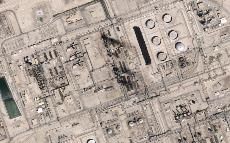 This satellite overview shows damage to oil/gas infrastructure from weekend drone attacks at Abqaig on September 15, 2019 in Saudi Arabia - AFP