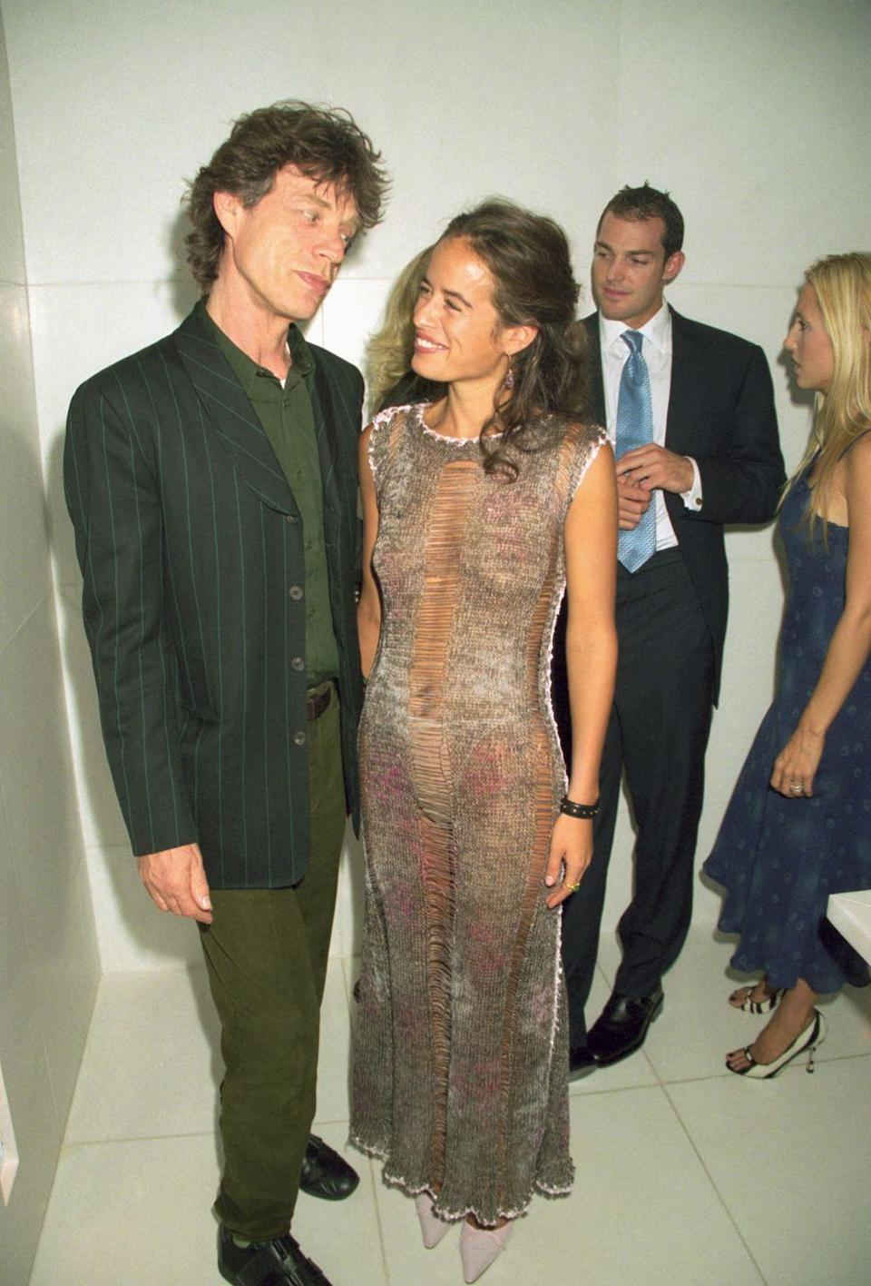 <p>Mick Jagger attends the launch of his daughter Jade's jewelry collection in London in 1999. Jade is the only child Mick shares with his first wife, Bianca Jagger. </p>