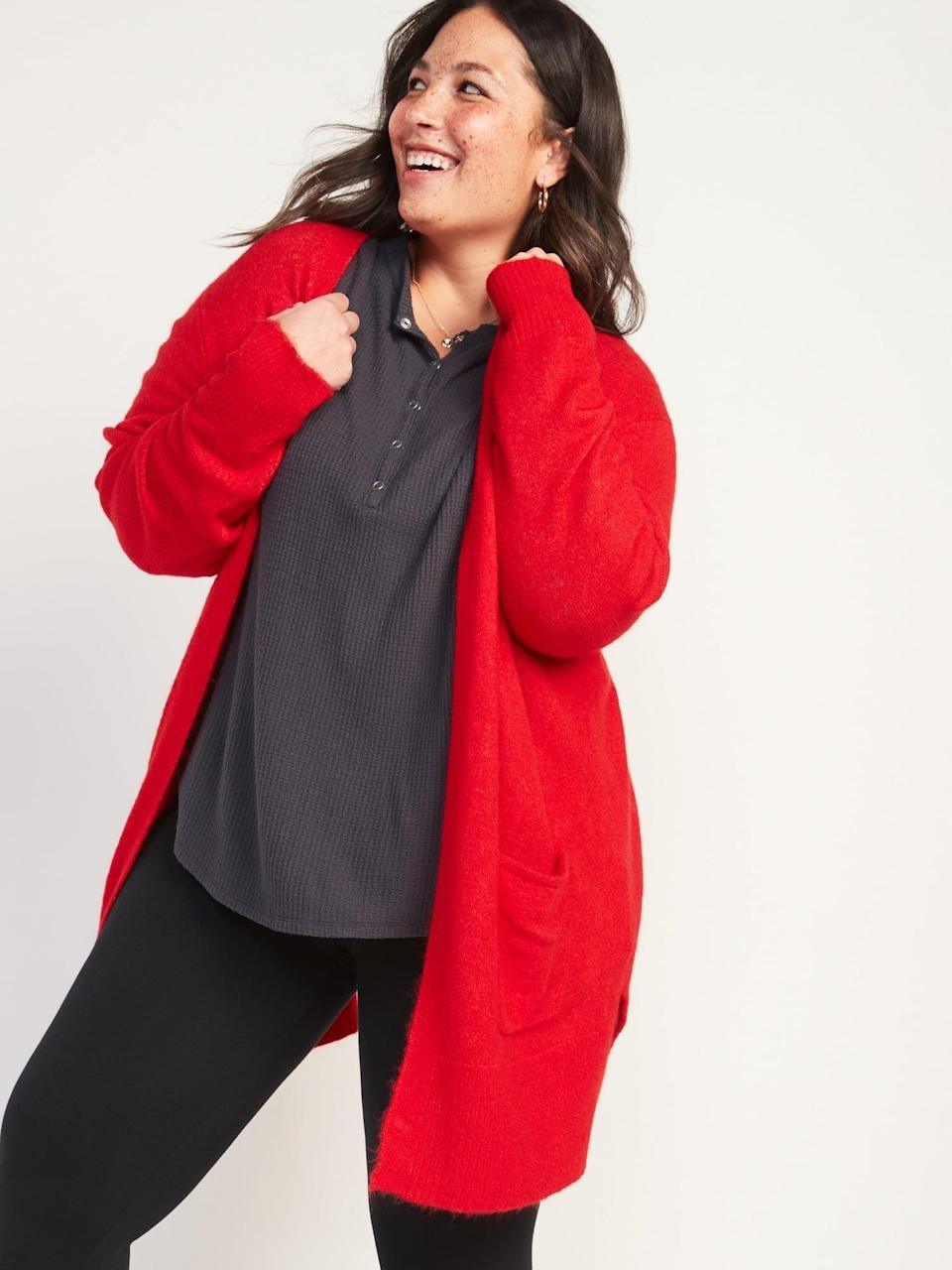 <p>The <span>Cozy Open-Front Long-Line Plus-Size Sweater </span> ($22, originally $43) will keep you nice and warm.</p>