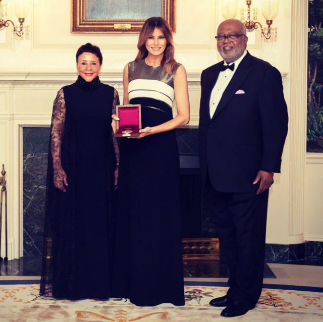Melania Trump, honorary chair of the annual event at Ford's Theatre, with Sheila C. Johnson, left, and William Newman, Johnson's husband, right. (Photo: Melania Trump via Twitter)