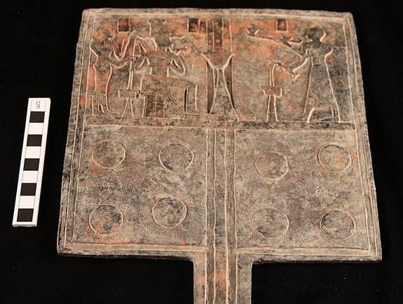A tin-bronze offering table was found in one of the tombs beneath a pyramid in the cemetery in Sudan.