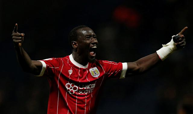 "Soccer Football - Championship - Preston North End vs Bristol City - Deepdale, Preston, Britain - March 6, 2018 Bristol City's Famara Diedhiou celebrates scoring their first goal Action Images/Ed Sykes EDITORIAL USE ONLY. No use with unauthorized audio, video, data, fixture lists, club/league logos or ""live"" services. Online in-match use limited to 75 images, no video emulation. No use in betting, games or single club/league/player publications. Please contact your account representative for further details."