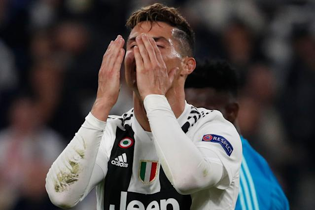 """<a class=""""link rapid-noclick-resp"""" href=""""/soccer/teams/juventus/"""" data-ylk=""""slk:Juventus"""">Juventus</a>' Cristiano Ronaldo reacts after missing a scoring chance during the Champions League quarter final, second leg soccer match between Juventus and Ajax, at the Allianz stadium in Turin, Italy, Tuesday, April 16, 2019. (AP Photo/Antonio Calanni)"""