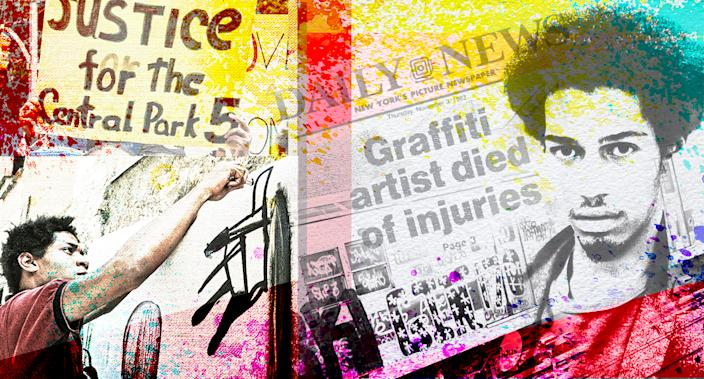 Jean-Michel Basquiat, left, and Michael Stewart. (Yahoo News photo illustration; photos: AP, Getty Images/Daily News)