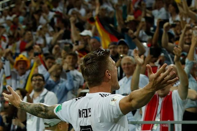 Just in time: Toni Kroos saved Germany's World Cup hopes in stoppage time against Sweden (AFP Photo/Odd ANDERSEN)