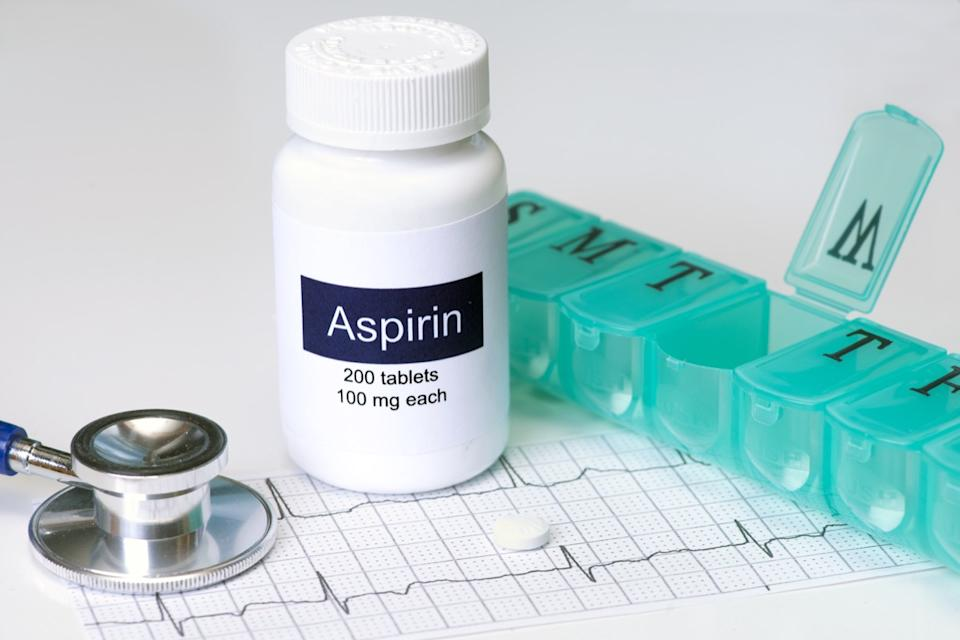 aspirin bottle on table possibly for covid complications