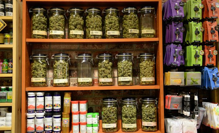 Cannabis on display at Denver Relief. The pot shop purports to be the oldest marijuana dispensary in Denver, having opened its doors in 2009. The shop is open for both Colorado red-card-holding medical marijuana patients and adult-use recreational cannabis sales. (Photo: Vince Chandler/The Denver Post)