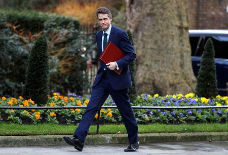 Britain's Secretary of State for Defence Gavin Williamson arrives in Downing Street in London