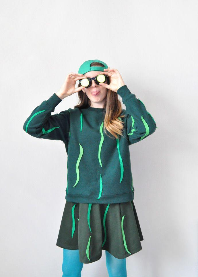 """<p>Everyone already knows just how cool you are, but this clever costume will seal the deal. Cut out wavy strips of light green felt, and stick them all over your dark green ensemble. Throw on a baseball cap and shades to really live up to the costume's name.</p><p><em><a href=""""https://www.handmadecharlotte.com/diy-cool-cucumber-halloween-costume/"""" rel=""""nofollow noopener"""" target=""""_blank"""" data-ylk=""""slk:Get the tutorial at Handmade Charlotte »"""" class=""""link rapid-noclick-resp"""">Get the tutorial at Handmade Charlotte »</a></em></p>"""
