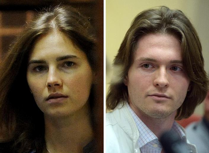 Fox, seen in 2011 in Perugia, and then boyfriend Sollecito -- pictured at a 2014 hearing in Rome, were convicted then finally acquitted while Ivorian Rudy Guede was found guilty and remains in jail (AFP Photo/Filippo MONTEFORTE, Tiziana FABI)
