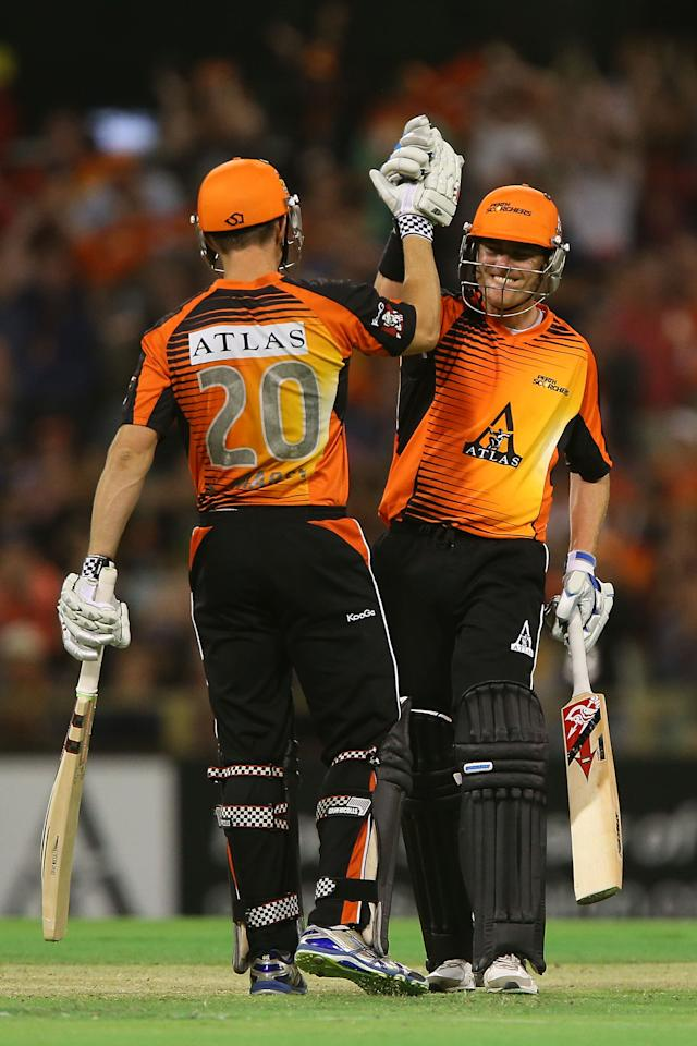 PERTH, AUSTRALIA - JANUARY 04:  Shaun Marsh and Marcus North of the Scorchers celebrate winning the Big Bash League match between the Perth Scorchers and the Sydney Thunder at WACA on January 4, 2013 in Perth, Australia.  (Photo by Paul Kane/Getty Images)
