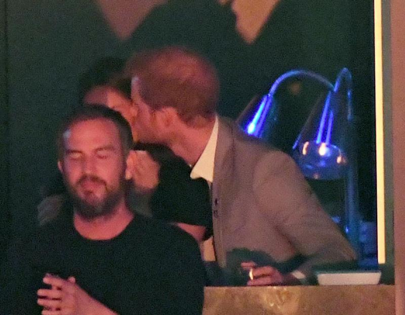 Prince Harry leans in for the kiss with Meghan Markle at the 2017 Invictus Games closing ceremony in Toronto