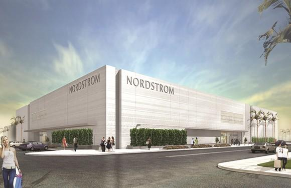 Architectural rendering of new Nordstrom store with a dozen shoppers walking outside.