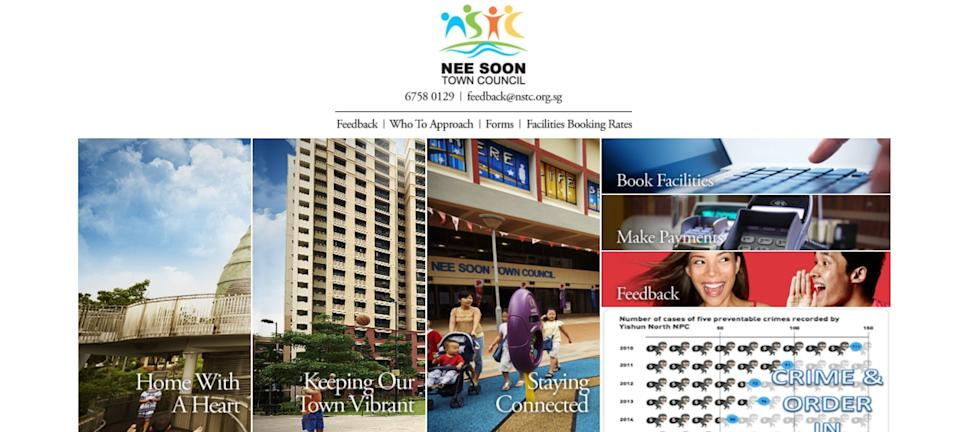 Screenshot: Home page of Nee Soon Town Council website