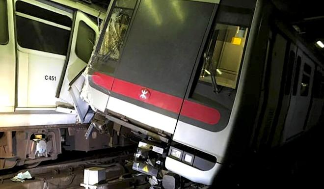 A damaged train in a crash last year. Photo: Handout
