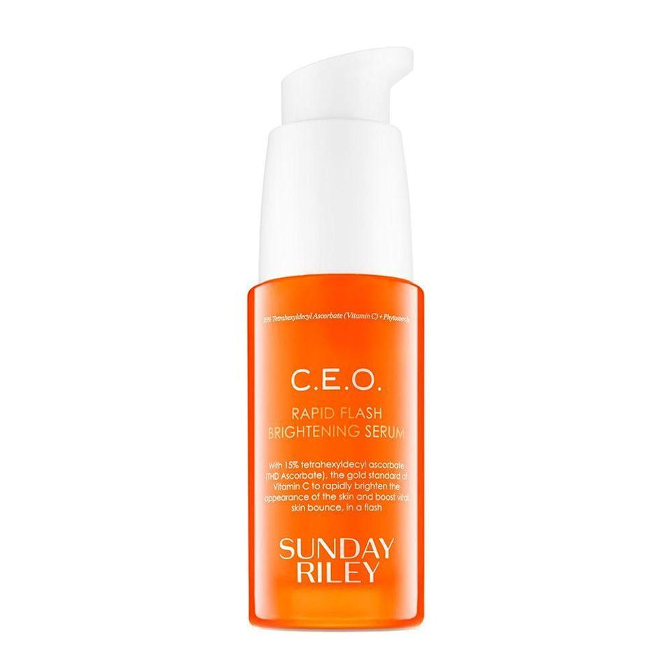 """<p><strong>Sunday Riley</strong></p><p>sephora.com</p><p><strong>$85.00</strong></p><p><a href=""""https://go.redirectingat.com?id=74968X1596630&url=https%3A%2F%2Fwww.sephora.com%2Fproduct%2Fc-e-o-rapid-flash-brightening-serum-P418346&sref=https%3A%2F%2Fwww.bestproducts.com%2Fbeauty%2Fg20966726%2Fvitamin-c-face-serum-reviews%2F"""" rel=""""nofollow noopener"""" target=""""_blank"""" data-ylk=""""slk:Shop Now"""" class=""""link rapid-noclick-resp"""">Shop Now</a></p><p>Sunday Riley's C.E.O. vitamin C serum is infused with an impressive 15% ultra stable, advanced vitamin C. It's a fast-absorbing formula that provides equally rapid results. </p><p>Use it daily to experience antioxidant benefits, such as improvement of pesky skin issues like fine lines and wrinkles, dark spots, and loss of firmness.</p>"""