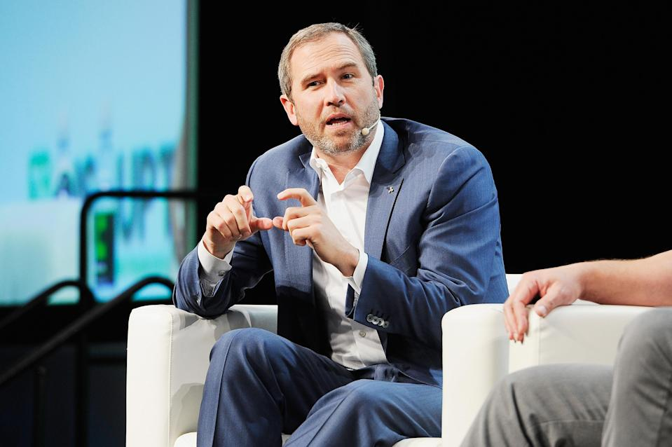 Ripple CEO Brad Garlinghouse onstage at TechCrunch Disrupt SF 2018. Photo: Steve Jennings/Getty Images for TechCrunch