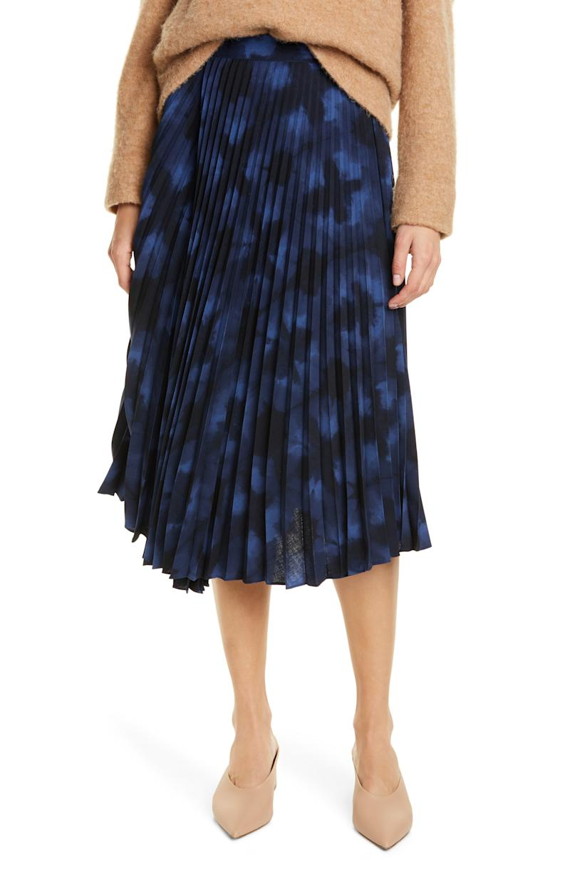 VINCE Tie Dye Pleated Skirt