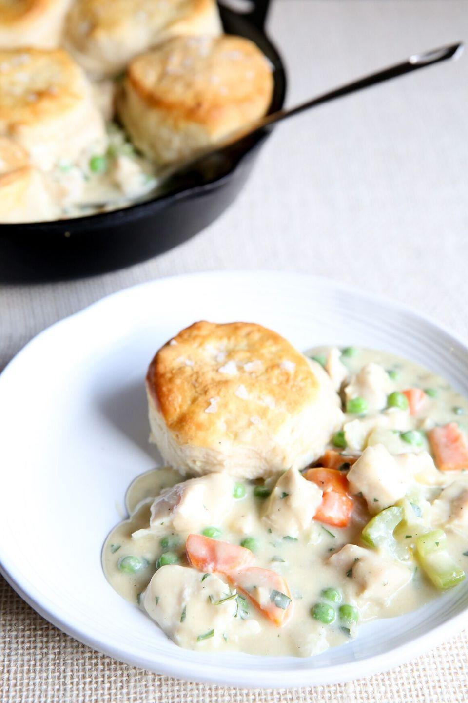 """<p>Biscuits>puff pastry.</p><p>Get the recipe from <a href=""""/cooking/recipe-ideas/recipes/a50857/skillet-biscuit-pot-pie-recipe/"""" data-ylk=""""slk:Delish"""" class=""""link rapid-noclick-resp"""">Delish</a>.</p><p><strong><a class=""""link rapid-noclick-resp"""" href=""""https://www.amazon.com/Homwe-Professional-Silicone-Oven-Mitt/dp/B00WUDQ61W/?tag=syn-yahoo-20&ascsubtag=%5Bartid%7C1782.g.1467%5Bsrc%7Cyahoo-us"""" rel=""""nofollow noopener"""" target=""""_blank"""" data-ylk=""""slk:BUY NOW"""">BUY NOW</a><em> Silicone Oven Mitt, $12, </em><em><span class=""""redactor-unlink"""">amazon.com</span></em></strong></p>"""