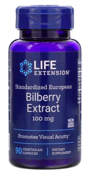 Life Extension, Bilberry extract, 100 mg, 90 vegetarian capsules. PHOTO: iHerb