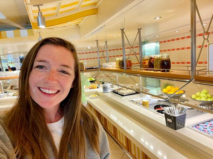 The author in front of Carnival Vista's Lido Buffet.