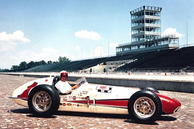 """Foyt the morning after winning the 1961 Indianapolis 500 aboard his Bowes Seal Fast Trevis-Offy. <span class=""""copyright"""">IndyCar Series</span>"""