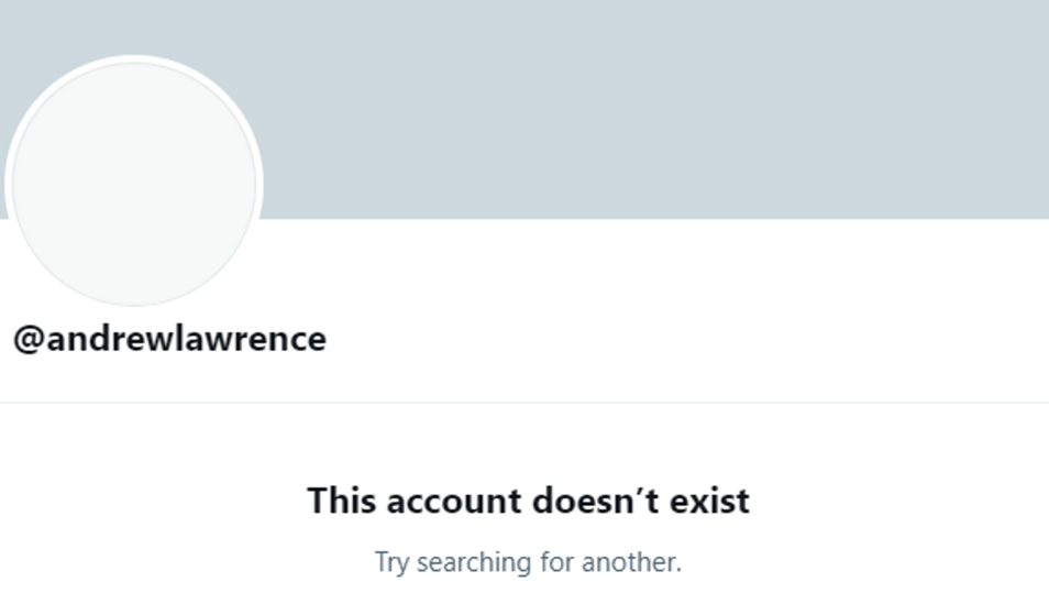 Andrew Lawrence deleted his profile after a backlash to his tweets. (Twitter)