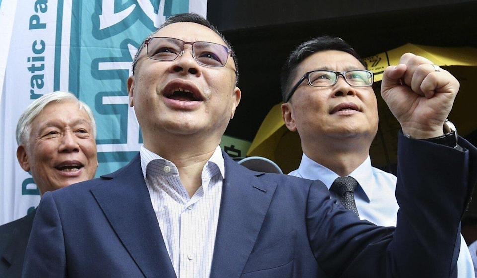Occupy Central co-founders (left to right) Reverent Chu Yiu-ming, Benny Tai and Chan Kin-man appear at the District Court in Wan Chai in 2017. Photo: David Wong