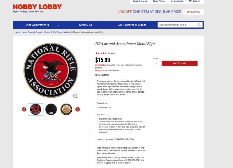 Hobby Lobby sells National Rifle Association paraphernalia including badges, signs, and clothing apparel emblazoned with the gun rights organization logo. (Credit: Hobby Lobby/Screenshot)
