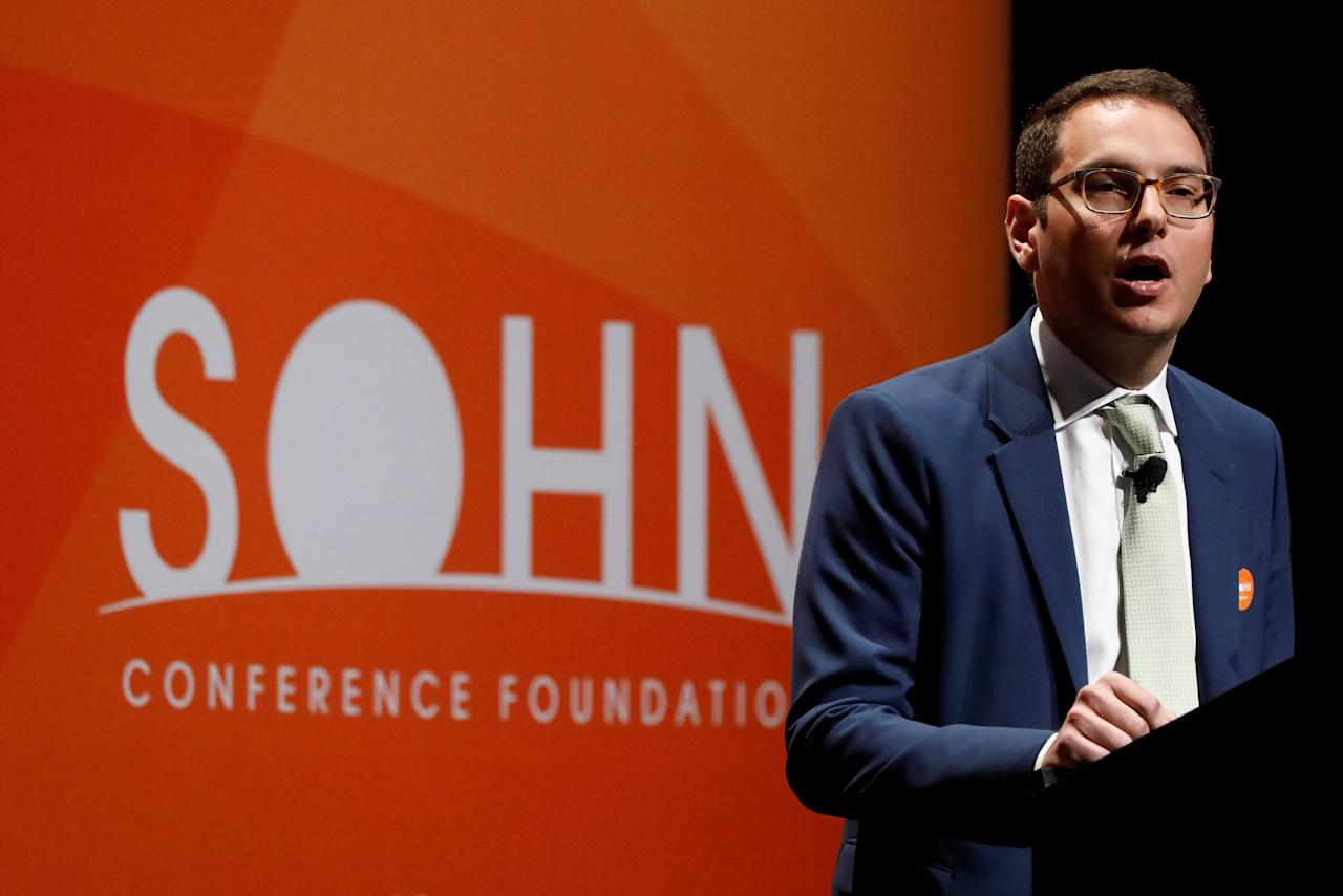 Nathaniel August, Founder and President of Mangrove Partners, presents during the 2018 Sohn Investment Conference in New York City, U.S., April 23, 2018. REUTERS/Brendan McDermid