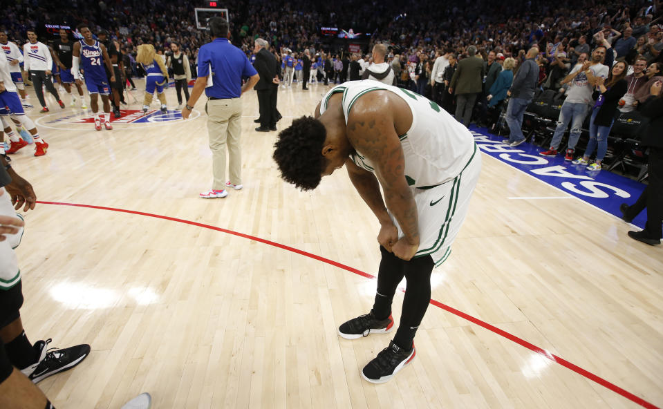 Boston Celtics guard Marcus Smart reacts after missing a shot at the buzzer in his team's loss to the Sacramento Kings in an NBA basketball game in Sacramento, Calif., Sunday, Nov. 17, 2019. (AP Photo/Rich Pedroncelli)