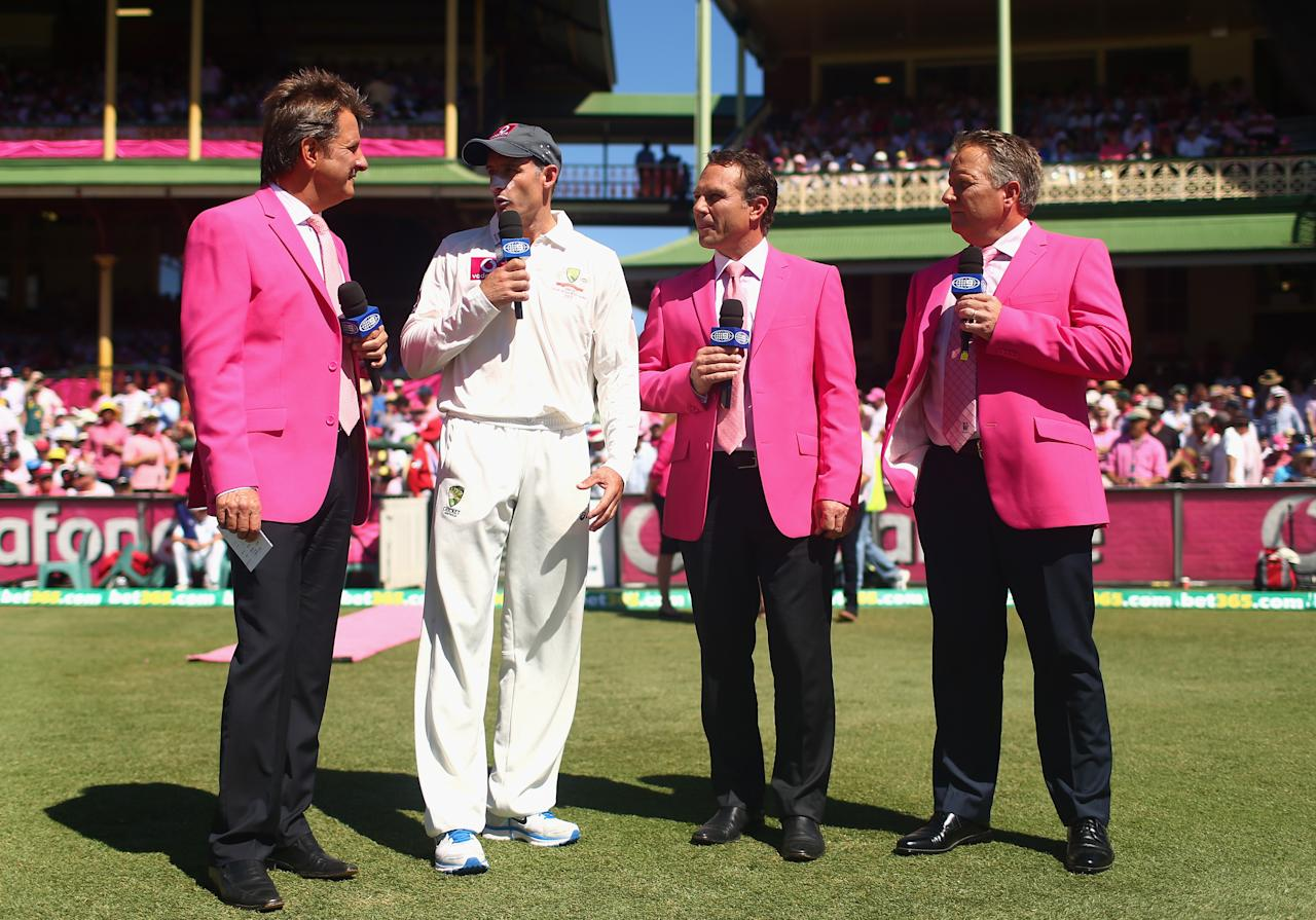 SYDNEY, AUSTRALIA - JANUARY 05: Michael Hussey of Australia speaks with Mark Nicholas, Michael Slater and Ian Healy as they wear pink for Jane McGrath day during day three of the Third Test match between Australia and Sri Lanka at Sydney Cricket Ground on January 5, 2013 in Sydney, Australia.  (Photo by Ryan Pierse/Getty Images)