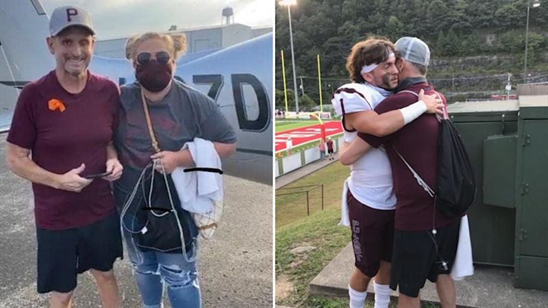 Scott Sullivan with his nurse Jerree Humphrey (left) got to watch his son Caden play his first football game (right).